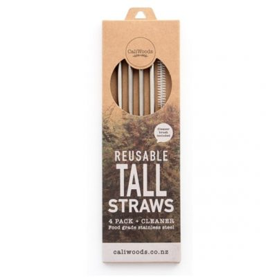 caliwoods tall drinking straws stainless steel