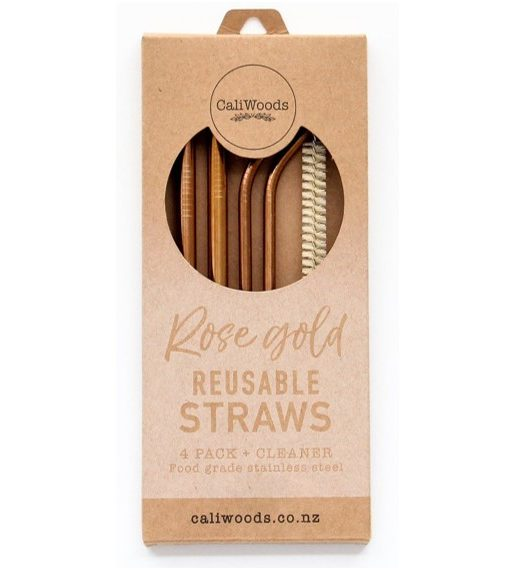 CaliWoods Reusable Mixed Pack Straws Rose Gold